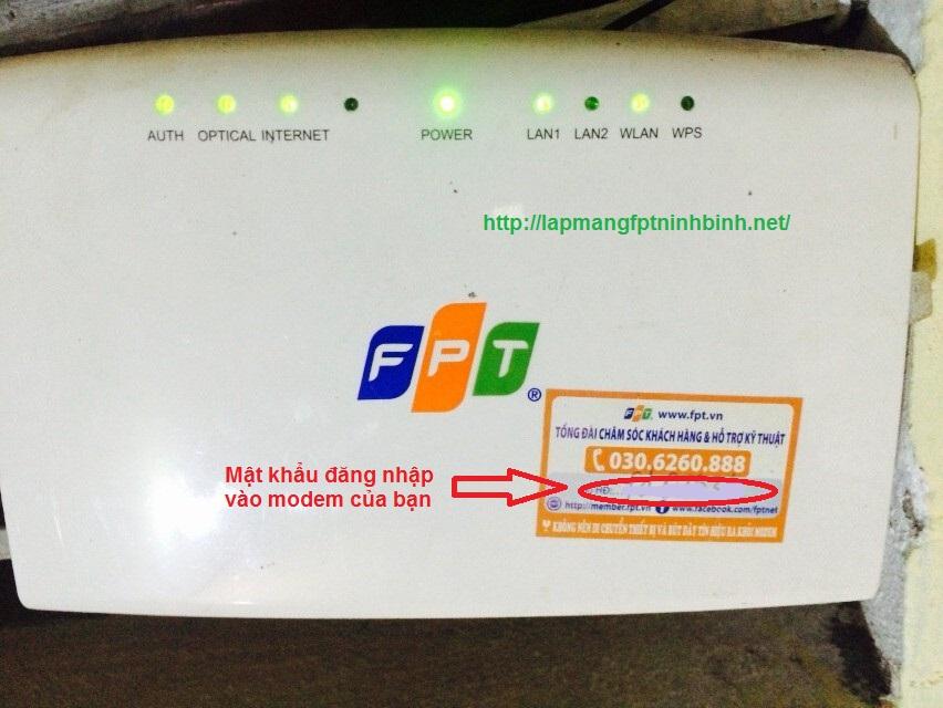 hướng dẫn đổi mật khẩu modem wifi fpt ninh bình